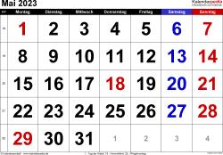 Kalender Mai 2023 im Querformat, grosse Ziffern