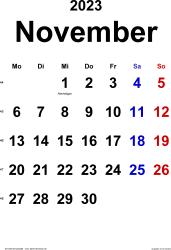 Kalender November 2023 im Hochformat, klassisch