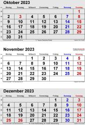 3-Monats-Kalender October/November/December 2023 im Hochformat