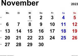 Kalender November 2023 im Querformat, klassisch