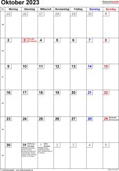 Kalender October 2023 im Hochformat, kleine Ziffern