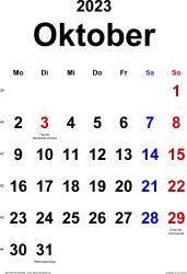Kalender October 2023 im Hochformat, klassisch