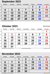 3-Monats-Kalender September/October/November 2023 im Hochformat