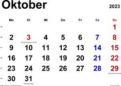 Kalender October 2023 im Querformat, klassisch