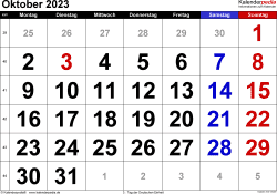 Kalender October 2023 im Querformat, grosse Ziffern