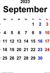 Kalender September 2023 im Hochformat, klassisch
