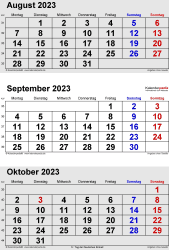 3-Monats-Kalender August/September/October 2023 im Hochformat