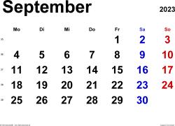 Kalender September 2023 im Querformat, klassisch