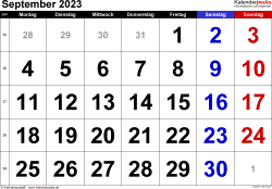 Kalender September 2023 im Querformat, grosse Ziffern