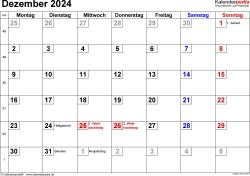 Kalender Dezember 2024 im Querformat, kleine Ziffern