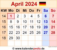 Kalender April 2024