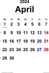Kalender April 2024 im Hochformat, klassisch