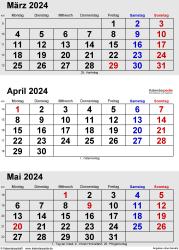 3-Monats-Kalender März/April/Mai 2024 im Hochformat