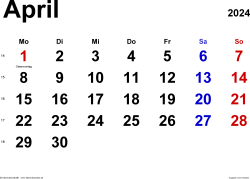 Kalender April 2024 im Querformat, klassisch
