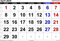 Kalender April 2024 im Querformat, grosse Ziffern