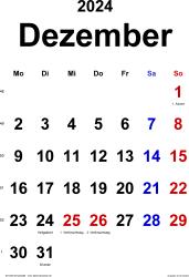 Kalender Dezember 2024 im Hochformat, klassisch