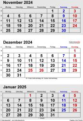 3-Monats-Kalender November/Dezember 2024& Januar 2025 im Hochformat