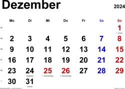 Kalender Dezember 2024 im Querformat, klassisch