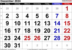 Kalender Dezember 2024 im Querformat, grosse Ziffern