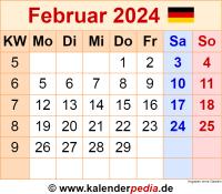 Kalender Februar 2024