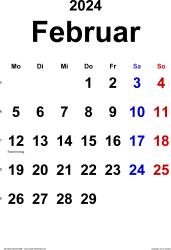 Kalender Februar 2024 im Hochformat, klassisch