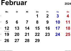 Kalender Februar 2024 im Querformat, klassisch