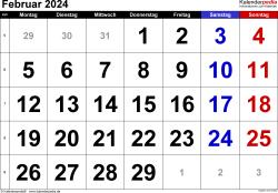 Kalender Februar 2024 im Querformat, grosse Ziffern