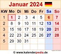 Kalender Januar 2024