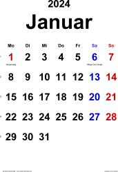 Kalender Januar 2024 im Hochformat, klassisch