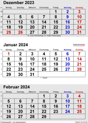 3-Monats-Kalender Dezember 2023/ Januar/Februar2024 im Hochformat