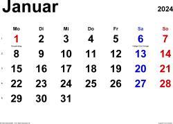 Kalender Januar 2024 im Querformat, klassisch