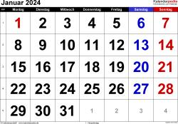 Kalender Januar 2024 im Querformat, grosse Ziffern