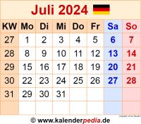 Kalender Juli 2024