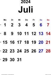 Kalender Juli 2024 im Hochformat, klassisch