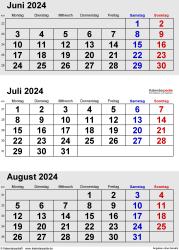 3-Monats-Kalender Juni/Juli/August 2024 im Hochformat