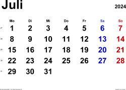 Kalender Juli 2024 im Querformat, klassisch