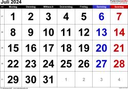 Kalender Juli 2024 im Querformat, grosse Ziffern