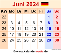 Kalender Juni 2024