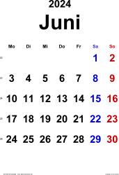 Kalender Juni 2024 im Hochformat, klassisch