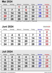 3-Monats-Kalender Mai/Juni/Juli 2024 im Hochformat