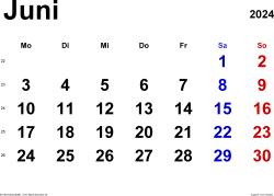 Kalender Juni 2024 im Querformat, klassisch
