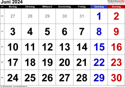 Kalender Juni 2024 im Querformat, grosse Ziffern