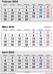 3-Monats-Kalender Februar/März/April 2024 im Hochformat