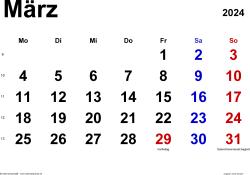 Kalender März 2024 im Querformat, klassisch
