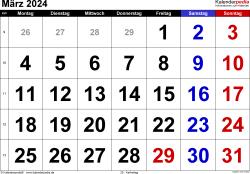 Kalender März 2024 im Querformat, grosse Ziffern