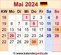 Kalender Mai 2024