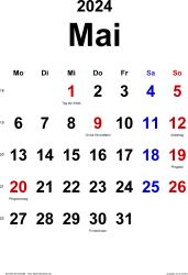 Kalender Mai 2024 im Hochformat, klassisch