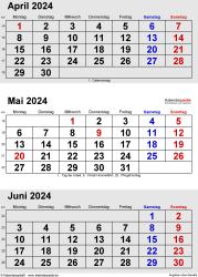 3-Monats-Kalender April/Mai/Juni 2024 im Hochformat
