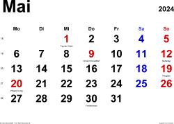 Kalender Mai 2024 im Querformat, klassisch