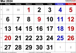 Kalender Mai 2024 im Querformat, grosse Ziffern
